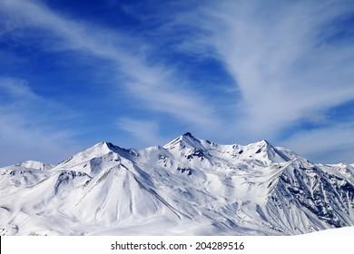 Winter snowy mountains. Caucasus Mountains, Georgia, Gudauri. View from ski resort.