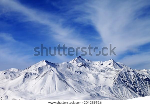 Winter Snowy Mountains Caucasus Mountains Georgia Stock