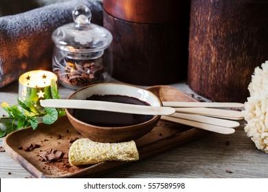 winter spa with dark chocolate for body massage
