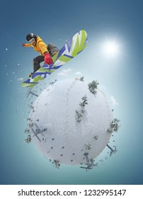 Winter Sport concept. Winter background. Young man jumping on board on white winter planet.