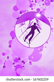 Winter sport, skiing poster or flyer background with space