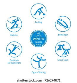 Winter sports icons set, 1 of 4, pictograms for web, print and other projects. 6 olympic species of events