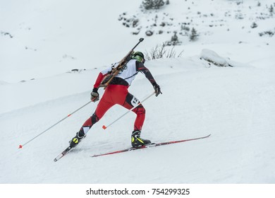 Winter sports: a participant in a biathlon competition