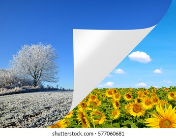 Winter and spring landscape. Concept of change season.