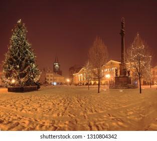 Winter square in town Jičín