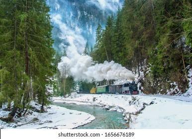 Winter steam train Mocanita from Romania