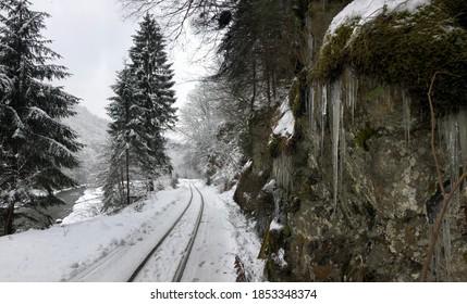 Winter steam train railway from Romania