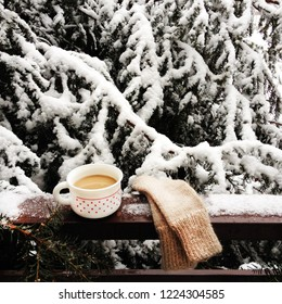 Winter still life with cup of hot drink and handmade mittens, snowy fir tree background