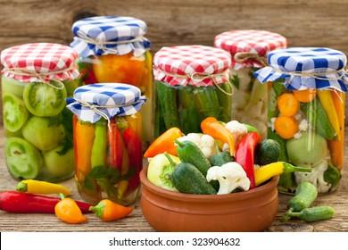 Winter stores, vegetables in jars