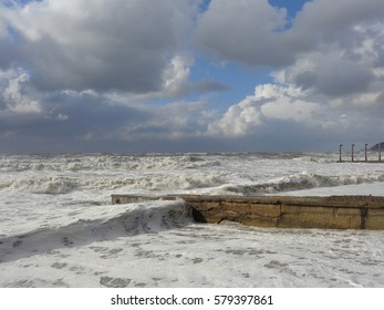 Winter storm at the Black Sea, great waves on the beach