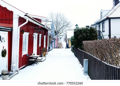 Winter street and Christmas decorations. Winter holidays, Sigtuna, Sweden
