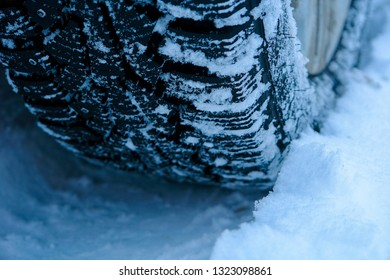 winter studded rubber in snow close-up