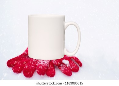 Winter styled mug mock-up. White blank coffee mug to add custom design or quote. Perfect for businesses selling mugs, just overlay your quote or design on to the image.