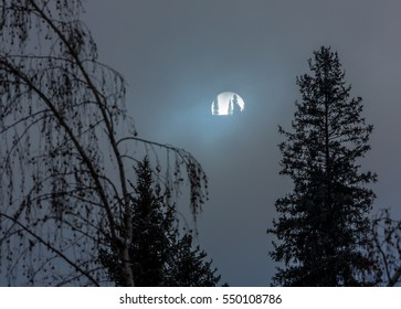 winter sun mystical, mysterious moon