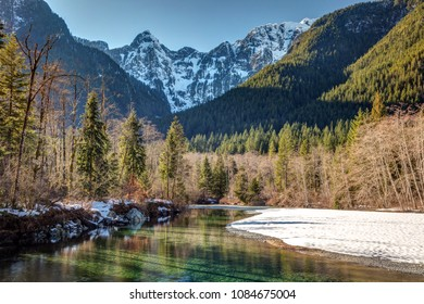 Winter sunlight  in Golden ears provincial park, british columbia, canada.
