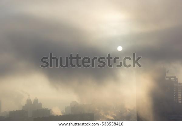 Winter Sunrise above the city