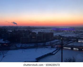 Winter sunrise in Kaliningrad stadium. Kaliningrad, Russia