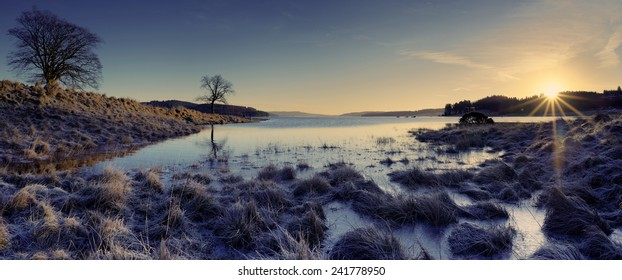A winter sunrise at Kielder Water in Northumberland, England.