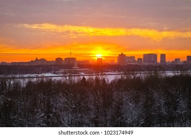 Winter sunrise in Moscow