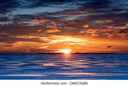 Winter sunrise over the ice