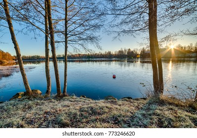 Winter sunrise over the lake