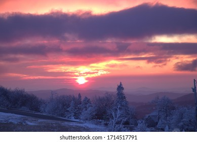 winter sunrise over the mountains