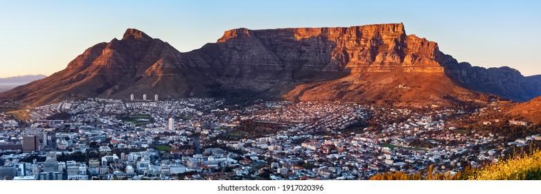 Winter sunrise over Table Mountain and Devil's Peak