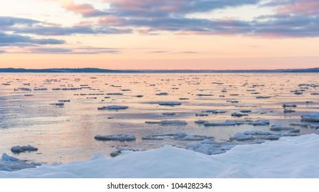 Winter sunrise over West Grand Traverse Bay near Traverse City, Michigan