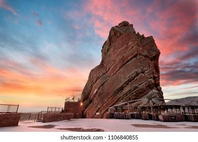 Winter sunrise at Red Rocks Park, near Denver Colorado