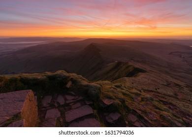 Winter sunrise from summit of Pen Y Fan.