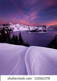 Winter Sunset at Crater Lake National Park in Oregon