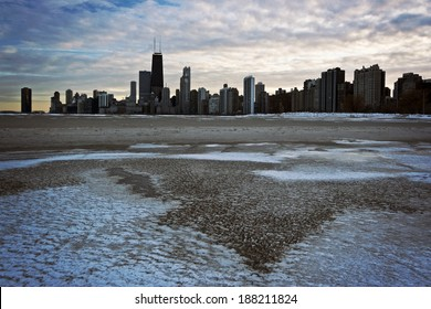 Winter Sunset in Downtown Chicago, IL.