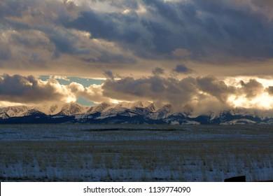 winter sunset east facing Bridger Mountains in Montana