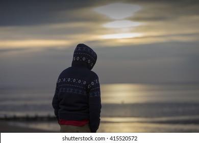 Winter sunset, Heacham Beach, Norfolk, England