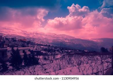 Winter sunset landscape in Lebanon mountains, Lebanon
