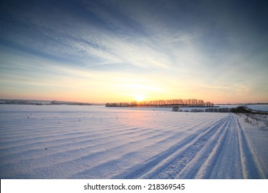 Winter sunset landscape panorama, very cold.