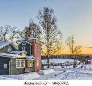 Winter sunset. Manor Muranovo. Moscow region, Russia