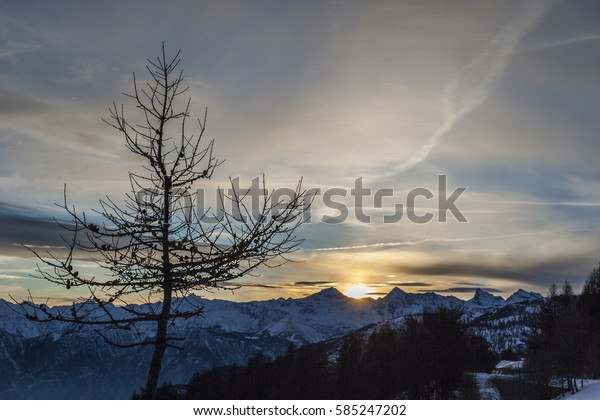 Winter sunset in the mountains (Ayas Valley, Monte Rosa Massif, Italy)