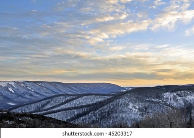 Winter Sunset in the Mountains of West Virginia Horizontal With Copy Space