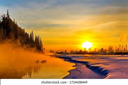 Winter sunset nature landscape. Sunset winter scene. Winter sunset rural landscape. Rural winter sunset landscape