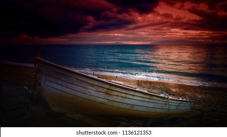 winter sunset on the beach
