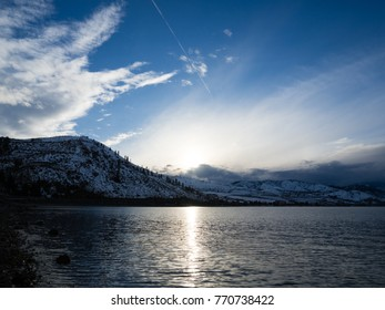 Winter sunset on Lake Chelan, Washington state