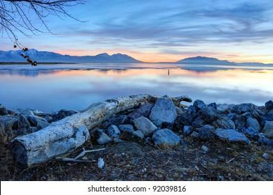 Winter Sunset on Utah Lake