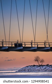 Winter sunset over Lake Ontario of the Humber Bay Arch Bridge and an icy tree.