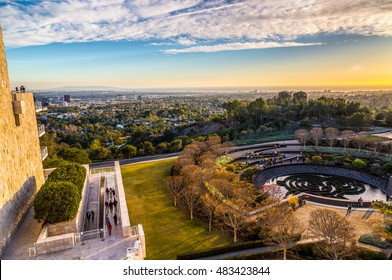 Winter sunset over West Los Angeles and Santa Monica from the garden of the Getty center, Los Angeles December 24, 2015 - HDR image.