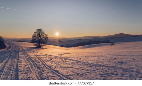 winter sunset ower the mountains with dominant tree and castle Buchlov