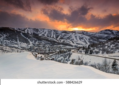 Winter sunset in Park City, Utah, USA.