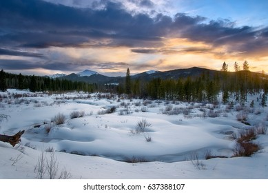 Winter Sunset in the Rocky Mountains, Colorado
