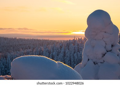 Winter sunset from Sotkamo, Finland.