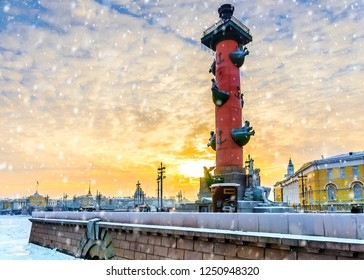 Winter sunset in St. Petersburg